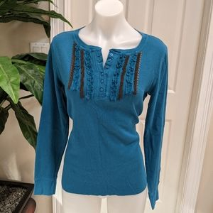 Charlotte Russe Women's Henley Top Size Large